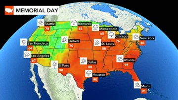 Memorial Day: Showers, storms to stretch across North Central states