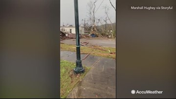 Trail of destruction left behind in tornado aftermath