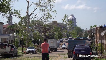 Neighborhoods damaged and trees down after EF3 tornado