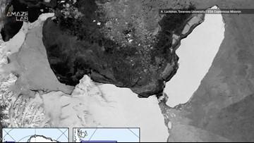 Stunning Timelapse of World's Largest Iceberg Drifting Away from Ice Shelf
