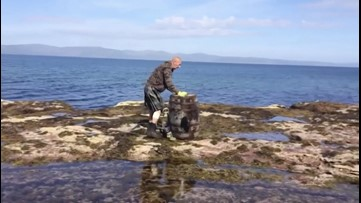 Watch as Man Lugs a 110-Lb. Whisky Barrel Around a Scottish Isle to Raise Money for Charity