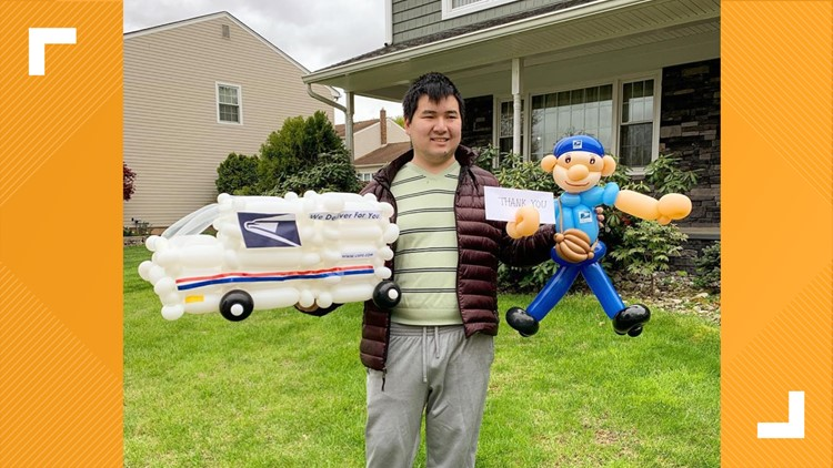 Artist with autism balloon art postal worker