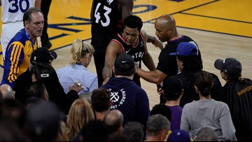 Warriors investor banned for 1 year, fined after shoving Toronto player