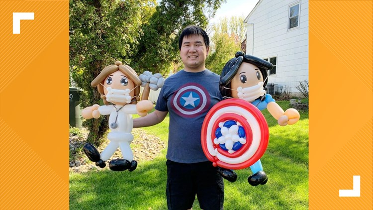 Artist with autism balloon art medical workers