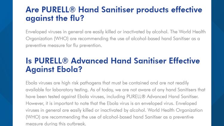 Purell virus claims