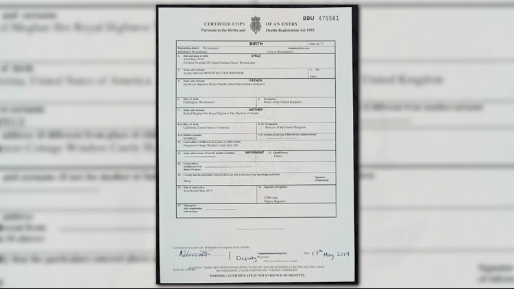Britain Royal Baby birth certificate