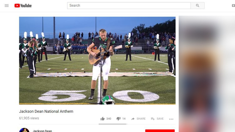 WATCH: High school football star's national anthem goes viral