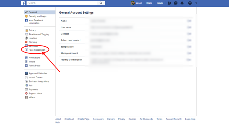 Facebook Facial Recognition Settings