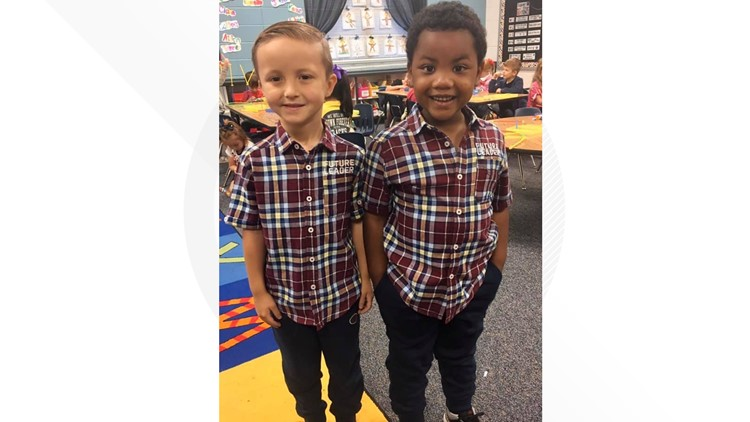 Boys wear matching 'twin' outfits
