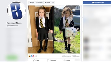 Little girl's before-and-after first day of school photos are hilarious