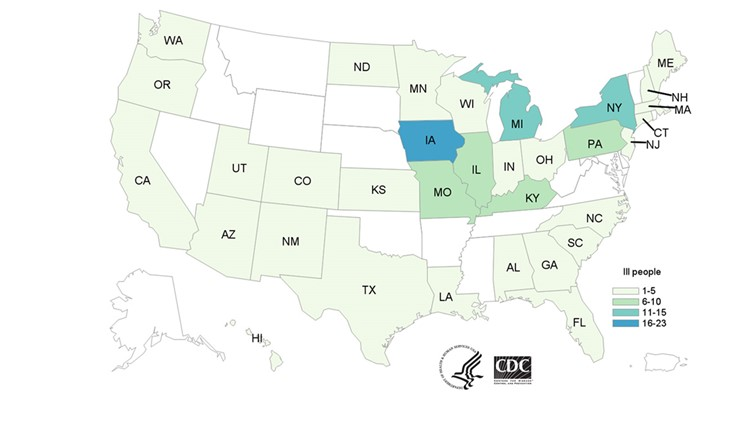 CDC Salmonella Pig Ears Outbreak Map July 31