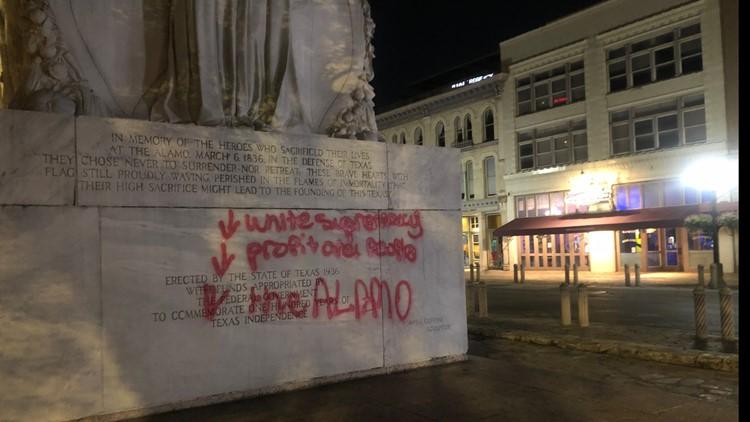Graffiti found in Alamo Plaza Friday morning