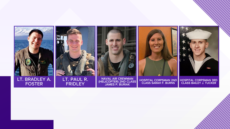 U.S. Navy identifies the 5 crewmembers that died in helicopter crash off California coast