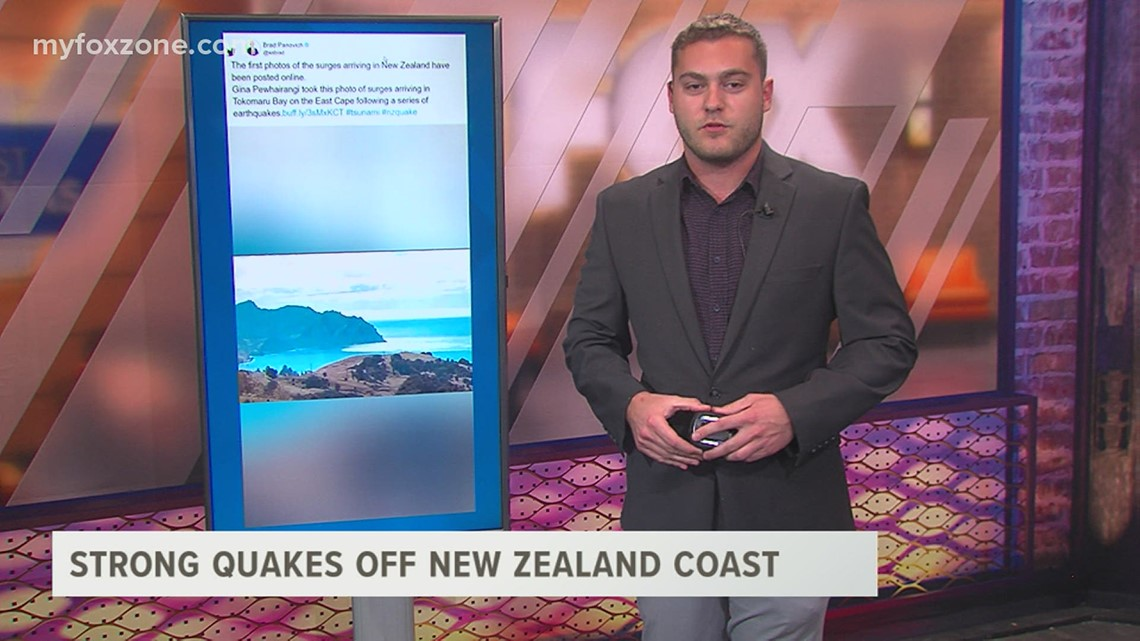 Strong earthquakes off the coast of New Zealand cause tsunami concerns in the Pacific