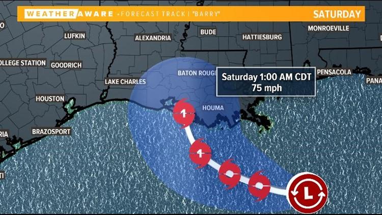 Barry forecast track