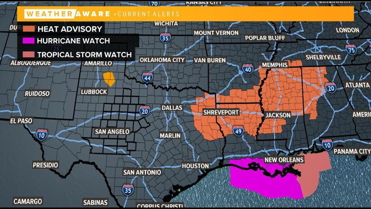 Alerts in place across the South