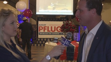 August Pfluger speaks from election party