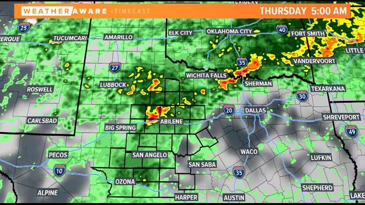 Thursday radar forecast across West Texas