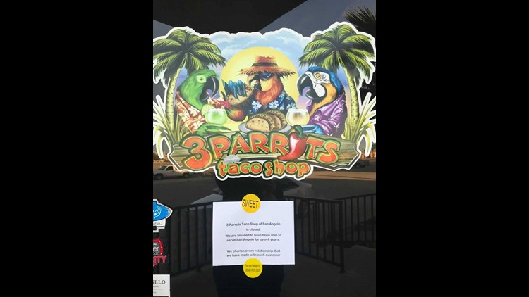 3 Parrots Taco Shop closes, note on door informs customers
