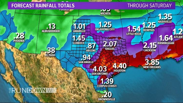 Thursday - Saturday rainfall totals