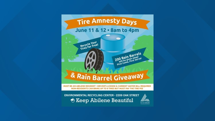 Tire Amnesty Days, rain barrel giveaway to be held in Abilene June 11-12