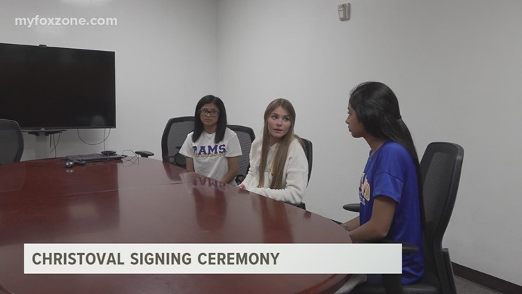 Three Christoval student-athletes participated in a signing ceremony Wednesday afternoon