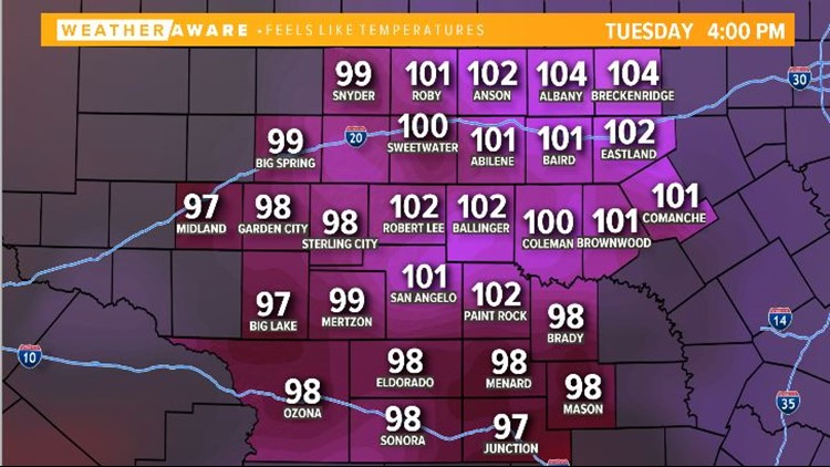 Heat index values Tuesday afternoon
