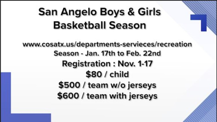 Register your team today for the upcoming San Angelo basketball season