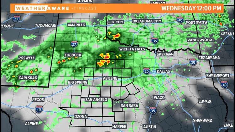 Wednesday radar across West Texas