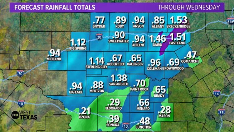 Rainfall through Wednesday