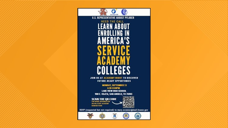 Military service academy night, hosted by Congressman August Pfluger, set for Monday, Sept. 13