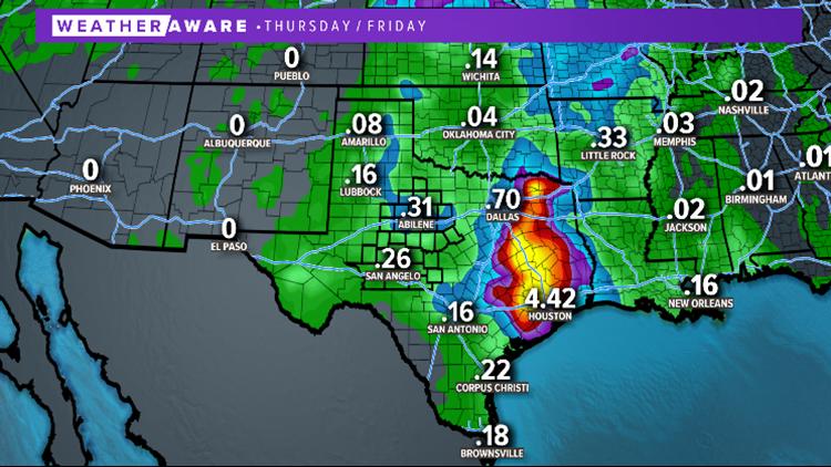 Regional rainfall forecast through the end of the week