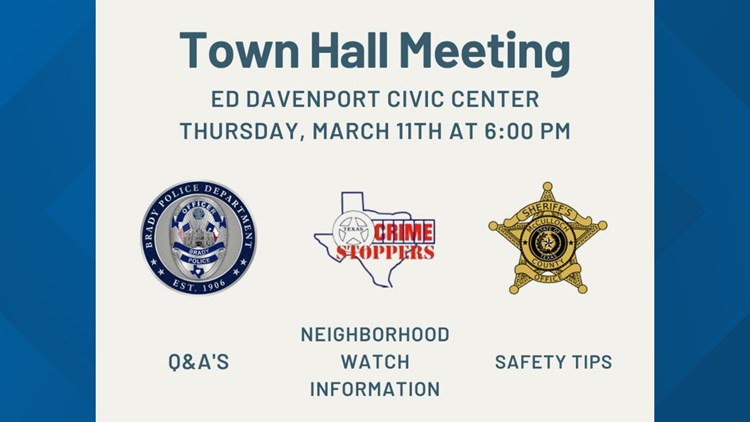 City of Brady, law enforcement agencies host town hall to address recent spike in thefts, burglaries