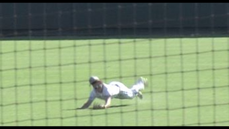 Wall's Colton Diebitsch makes a diving catch early in the 3A state semifinal