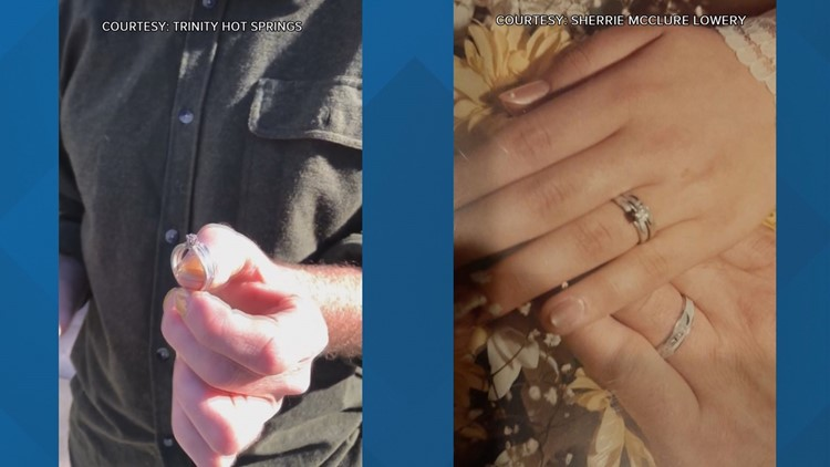 Side by side photos of missing wedding at hot springs