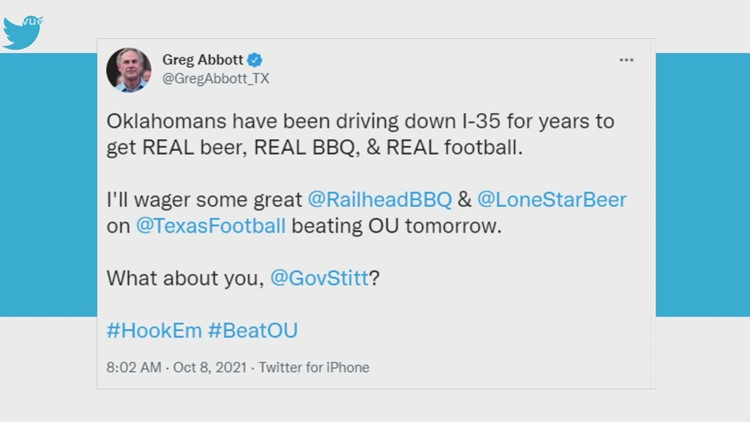Red River Showdown: Governors bet BBQ, beer on Texas-Oklahoma rivalry