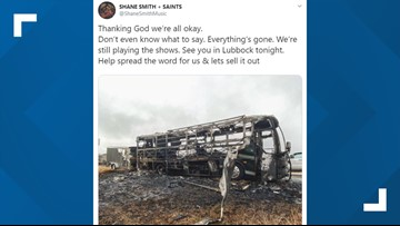 Austin band Shane Smith & the Saints' tour bus catches fire en route to Lubbock