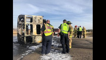 Wylie school bus totaled in fiery crash on Buffalo Gap Road, two transported to local hospital