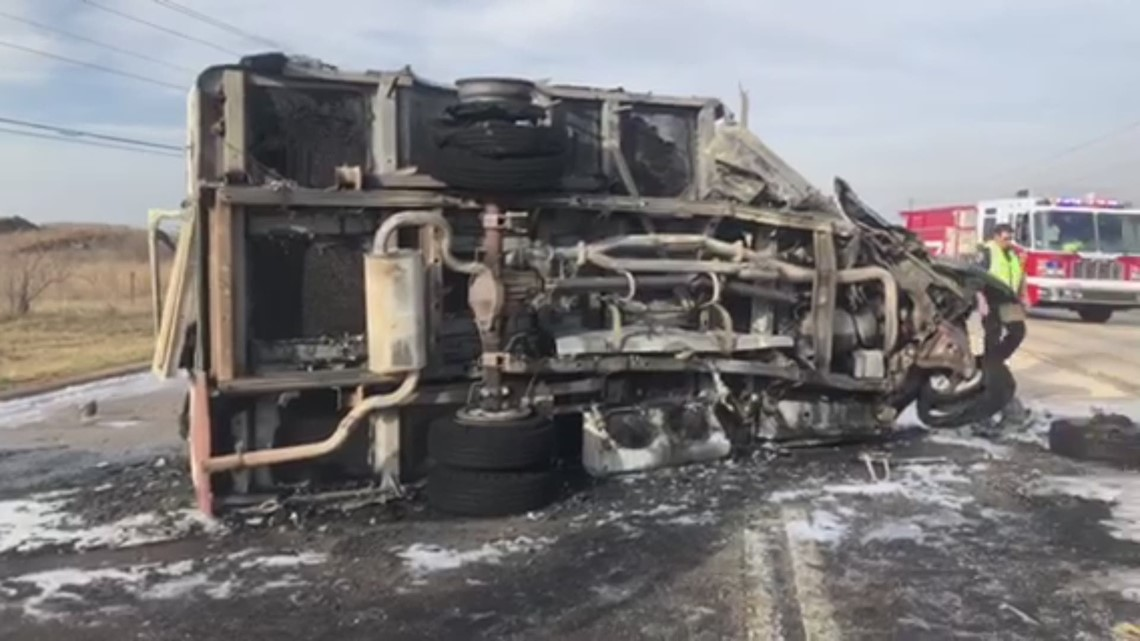 Wylie bus totaled in fiery crash