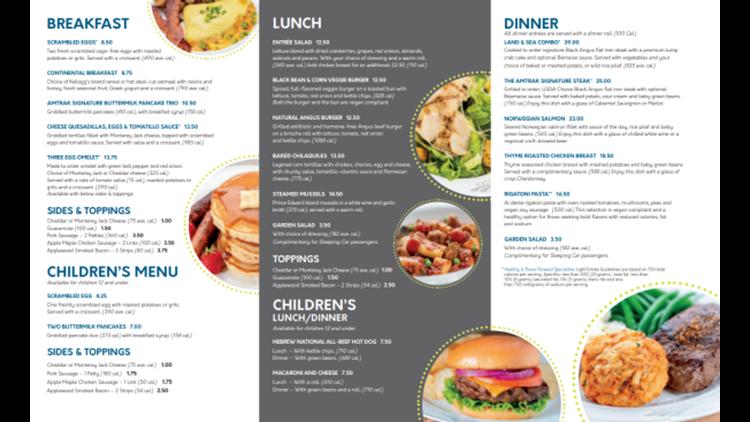 A sample Amtrak dining car menu.