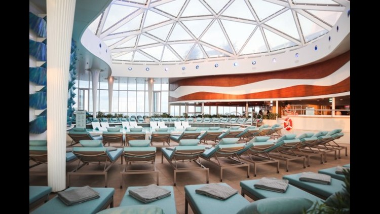 The adults-only solarium on Celebrity Edge. Photo by Melanie Lieberman / The Points Guy