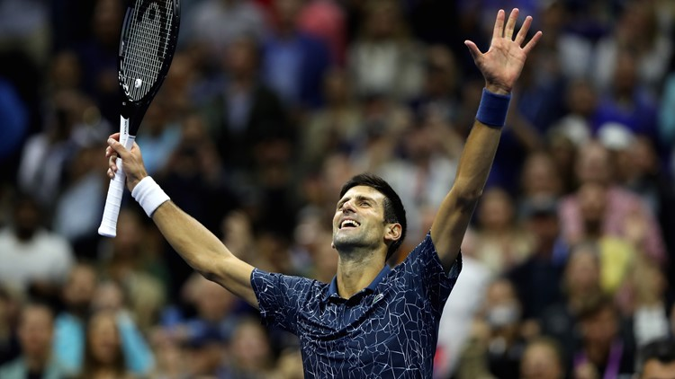 Djokovic defeated Juan Martin del Potro in three exhausting sets Sunday.