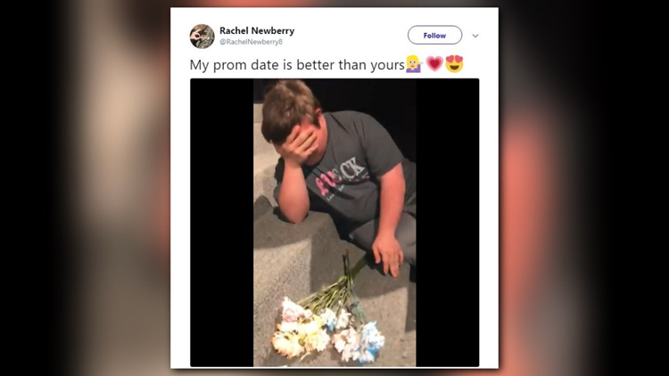 """In a tweet that's gone viral, Rachel Newberry shared a video in which she asked her friend to the dance. Her caption? """"My prom date is better than yours."""""""