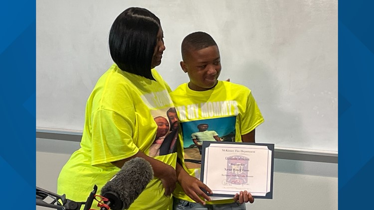 13-year-old Mckinney boy honored for helping save his mom from a serious stroke - twice