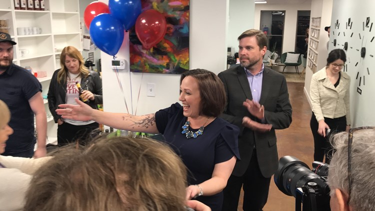 """Mary """"MJ"""" Hegar meets with supporters in Austin on Super Tuesday"""