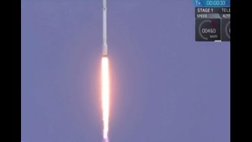 SpaceX rocket safelty lands on barge after launch