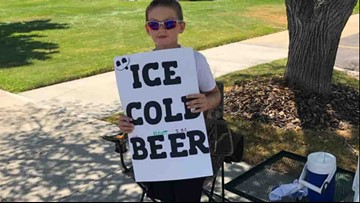Boy sells 'beer' on the street, but the police don't mind